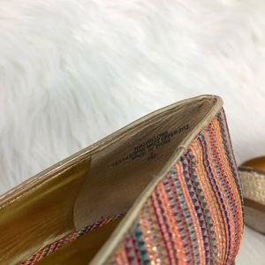Nine West Shoes - ✨Nine West✨ Peep Toe Wedge Striped Shoes Size 9
